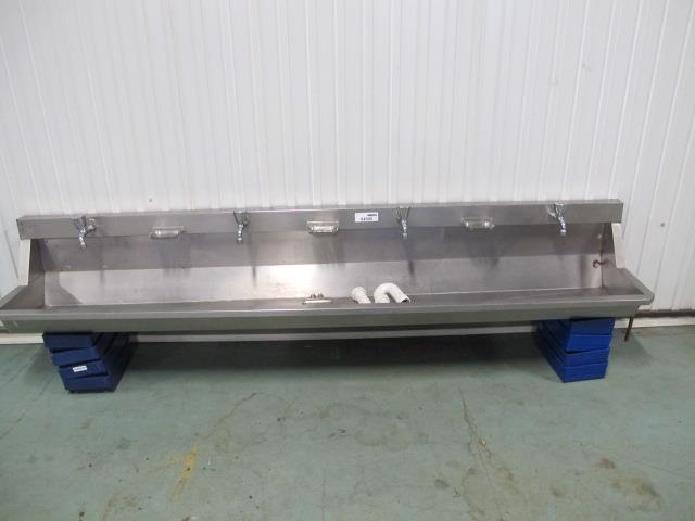 rvs wasbak lengte 2400mm met 4 kranen en chiffon en thermostaat  Memax, Onli # Shifon Wasbak_012851