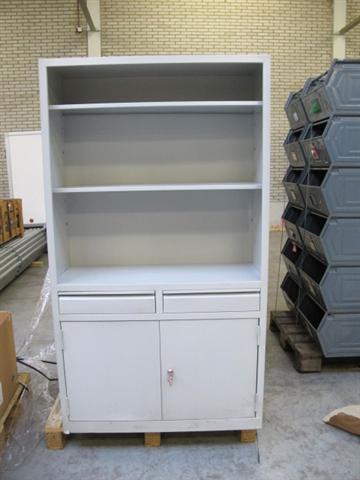 Stalen grijze halfopen kast met 2 lades en 2 deuren H1600xB930xD350 mm ...